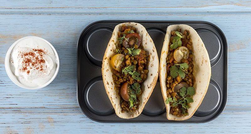 Vegetarian lentil tacos by the Greek chef Akis Petretzikis