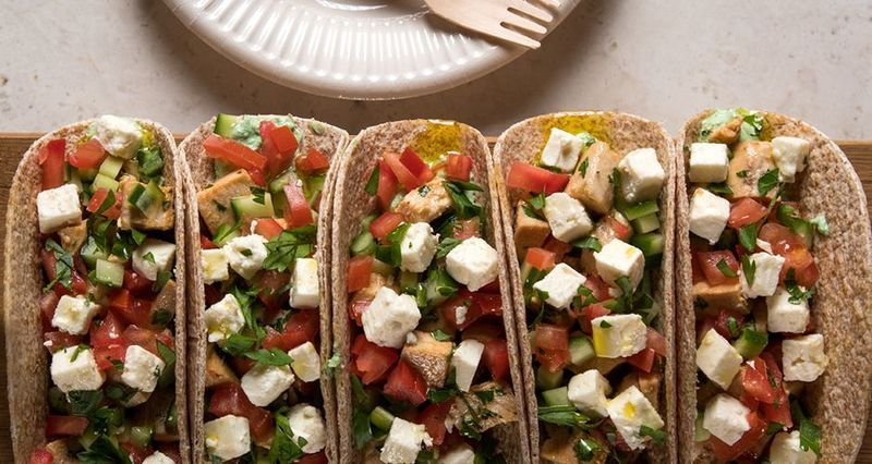 Chicken and Greek salad wrap by the Greek chef Akis Petretzikis