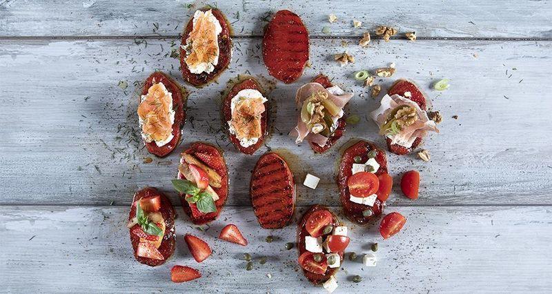 Watermelon bruschetta by the Greek chef Akis Petretzikis