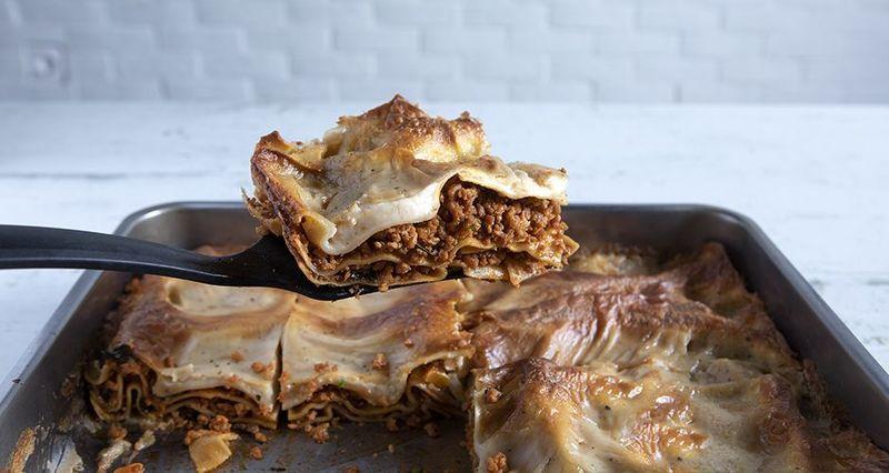 Vegan soya mince lasagna by the Greek chef Akis Petretzikis