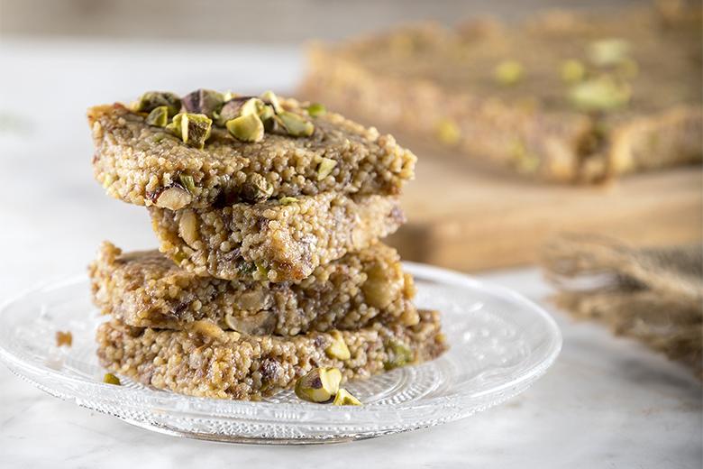 Millet and tahini energy bars by the Greek chef Akis Petretzikis