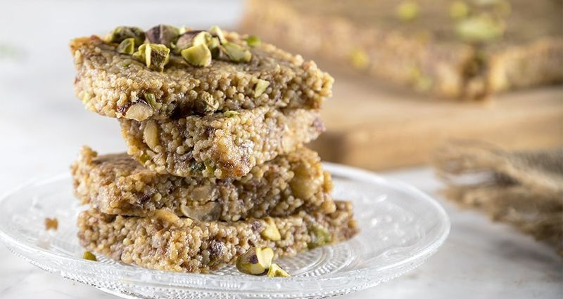 Millet and tahini energy bars by the Greek chef Akis Petretzikis