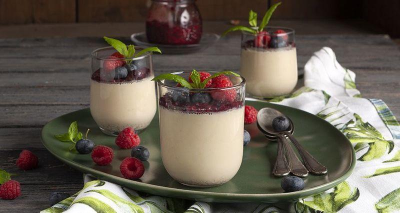 Soy milk panna cotta with forest fruit jamby the Greek chef Akis Petretzikis