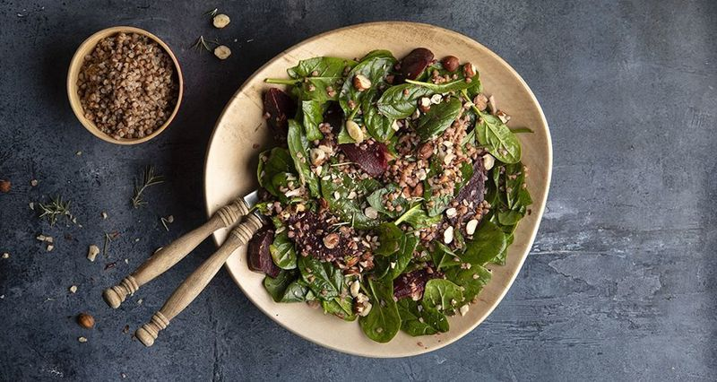 Buckwheat and beetroot salad by the Greek chef Akis Petretzikis