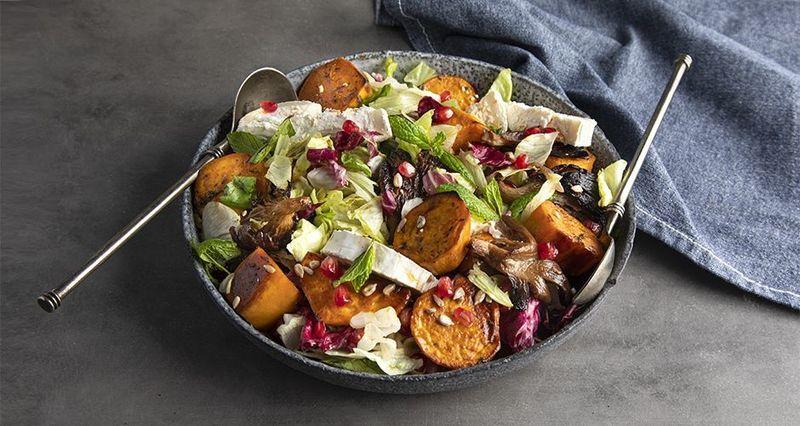 Sweet potato and mushroom salad by the Greek chef Akis Petretzikis