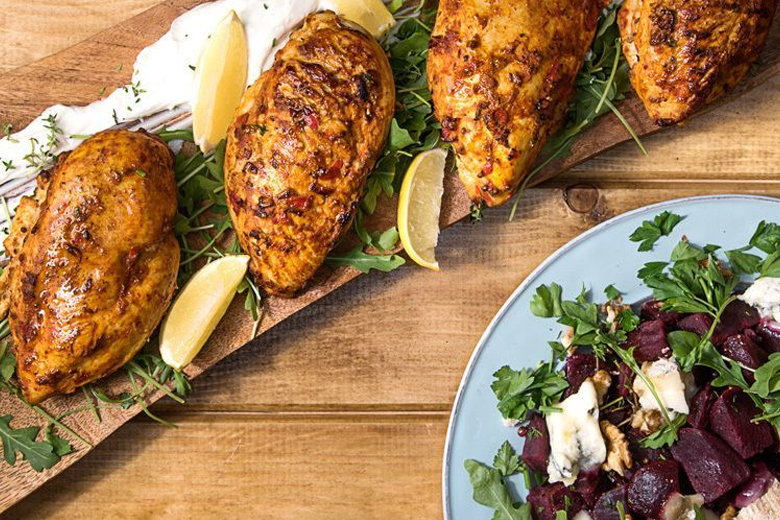 Spicy Harissa chicken with beetroot salad by the Greek chef Akis Petretzikis