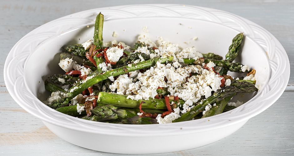 Oven Roasted Asparagus with Garlic and Feta