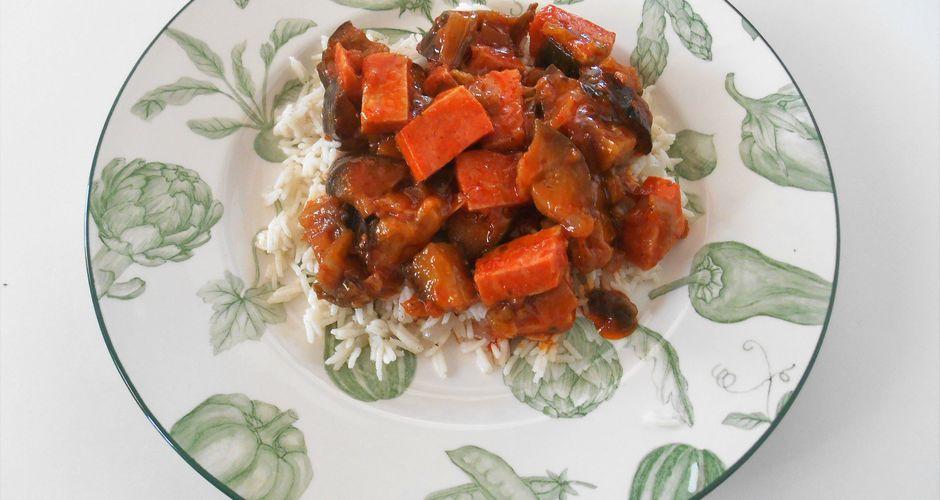 Eggplant Tomato Stew with Basmati Rice