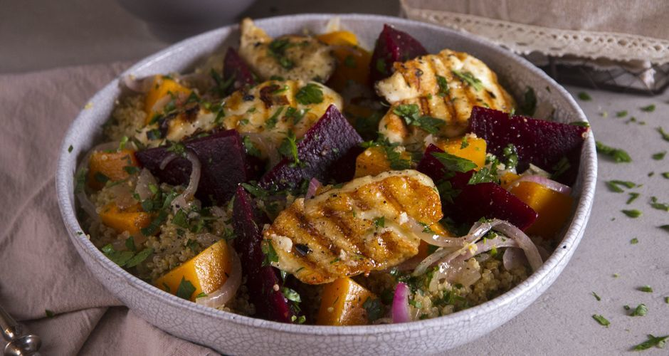Quinoa Pumpkin and Haloumi Salad