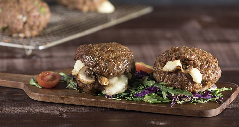 Mushroom and cheese stuffed burgers