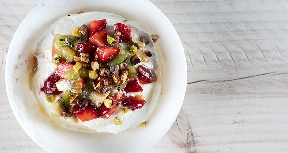 Yogurt Mousse with Nuts and Fruit
