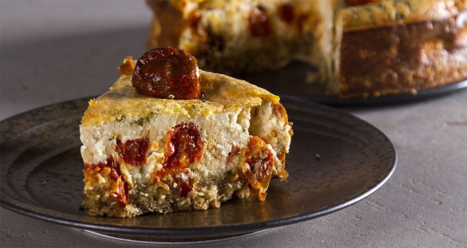 Roasted cherry tomato and feta cheesecake