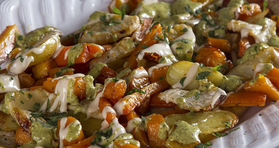 Roast Vegetables with a Tahini Sauce and Pesto