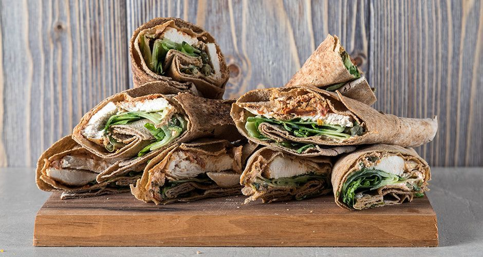 Whole wheat chicken wraps