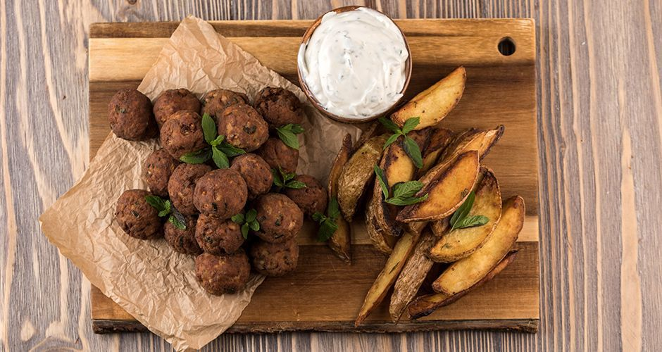 Greek meatballs with yogurt ouzo sauce