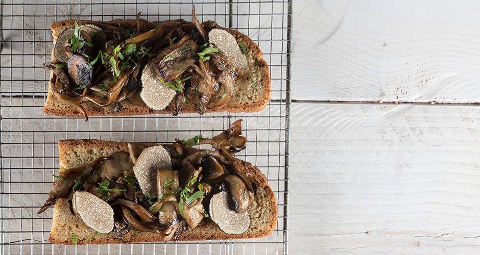 Mushroom and truffle bruschetta