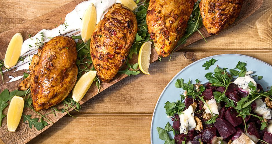 Spicy Harissa chicken with beetroot salad