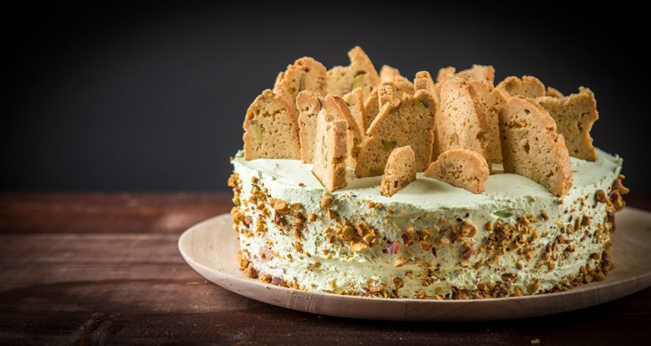 Pistachio and biscotti torte