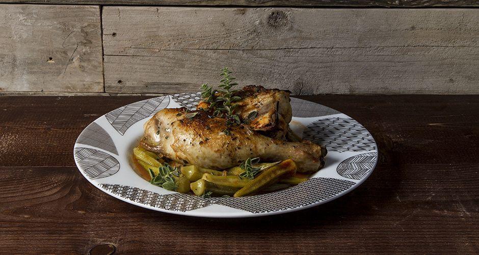 Greek chicken and okra stew
