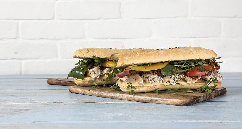 Turkey and spicy mayo ciabatta sandwich