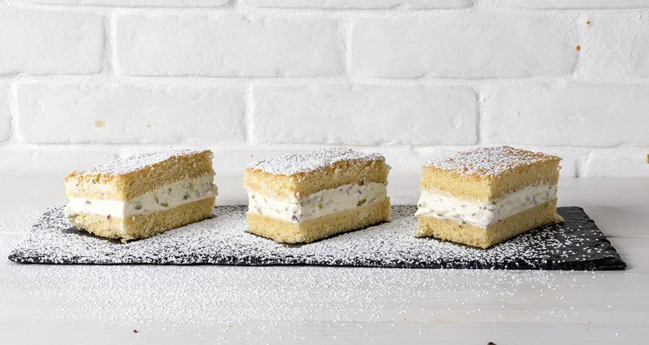 Milk cake treats with pistachios