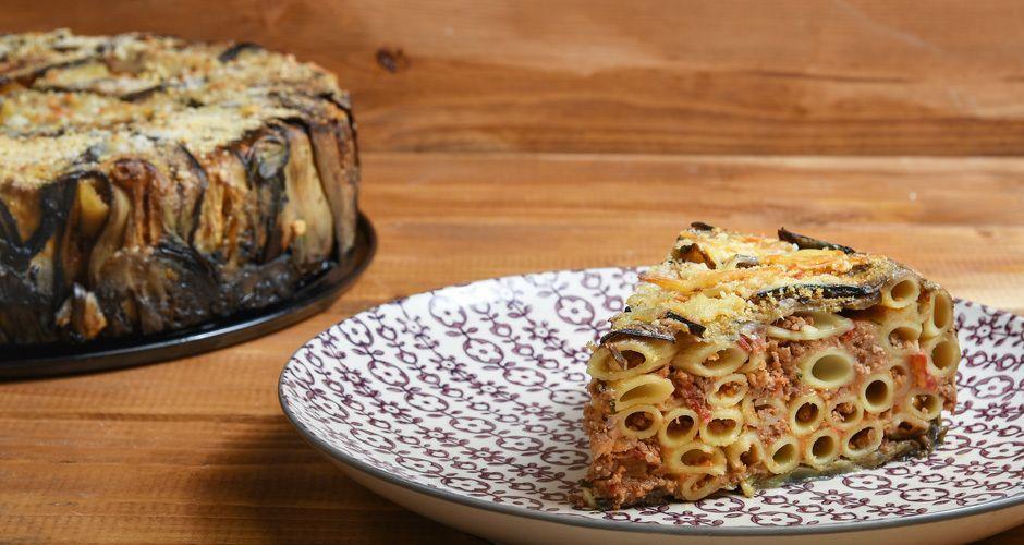 Pasta pie with eggplants