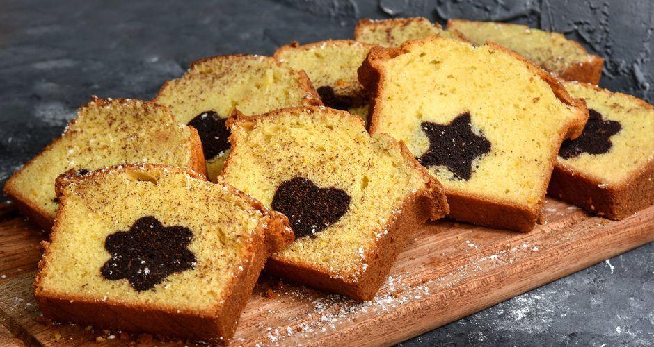Vanilla cake with chocolate shapes