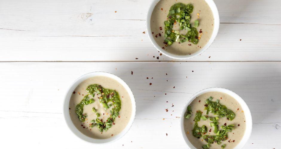 Vegan potato and cauliflower soup