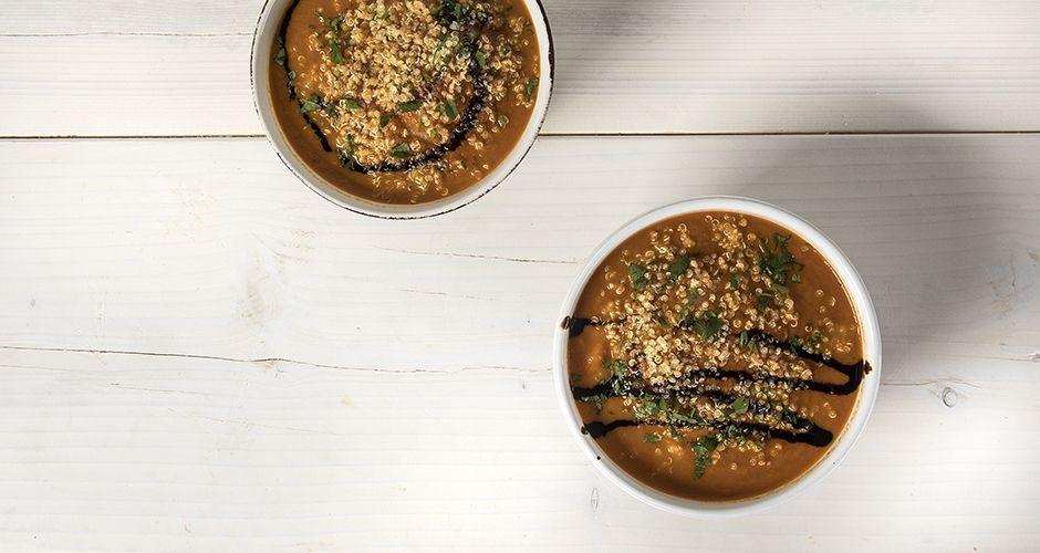 Smoked tomato and quinoa soup