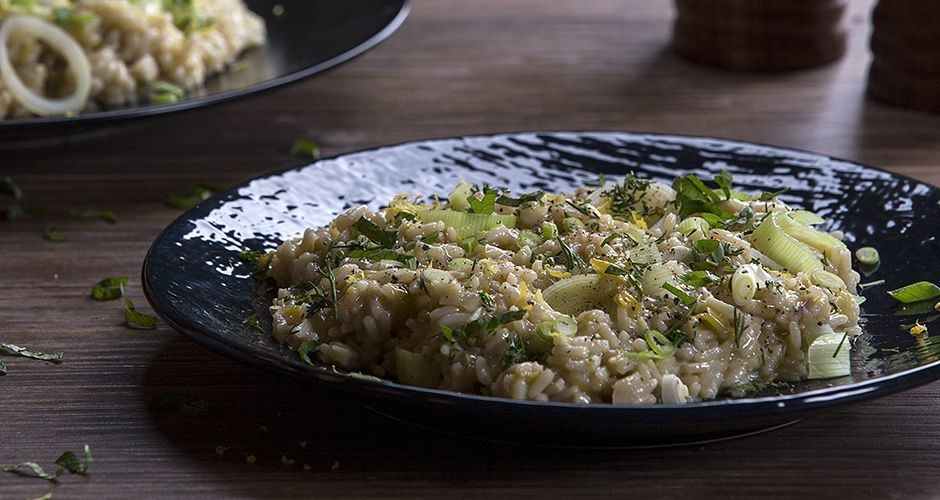 Greek rice and leek pilaf