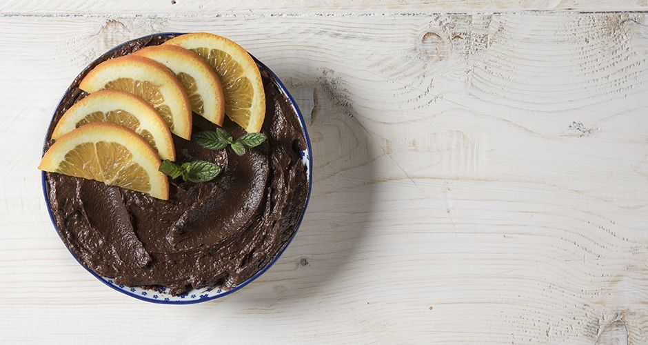 Chocolate avocado mousse with orange