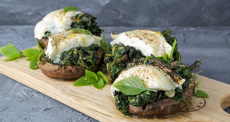 Mushrooms stuffed with spinach and goat cheese