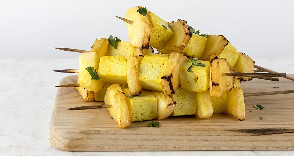 Pineapple and tofu souvlaki