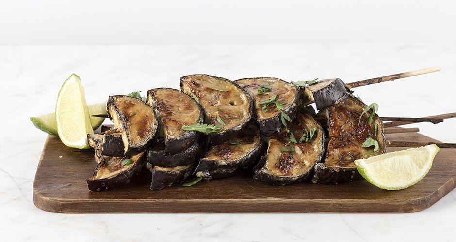 Eggplant and tahini skewers