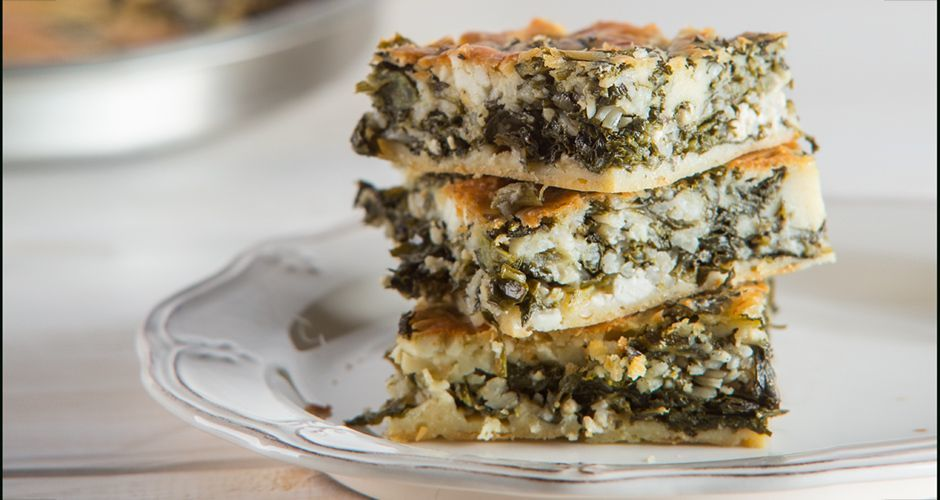 Greek cornmeal pie with greens