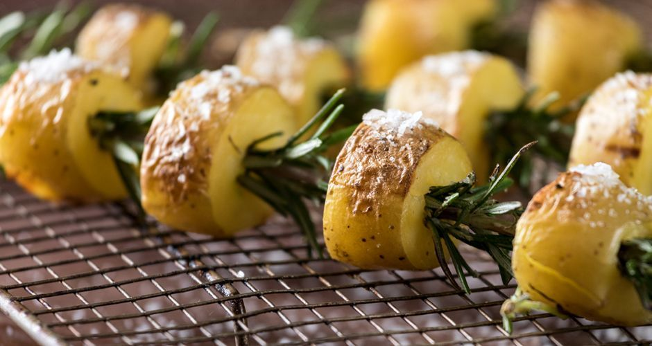 Roast potato and rosemary souvlaki