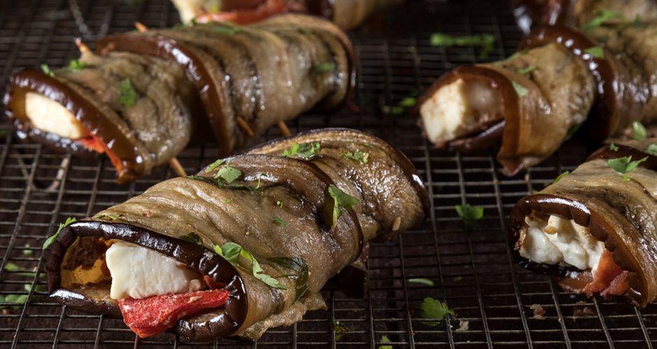 Red pepper and feta eggplant rolls