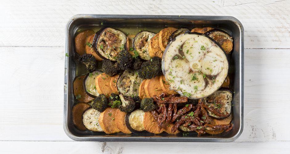 Ψητός ξιφίας με λαχανικά