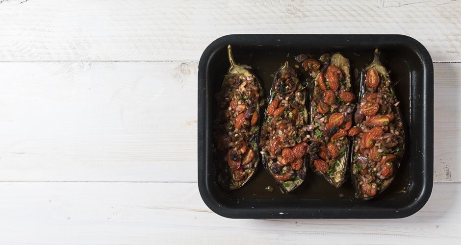 Roasted eggplants with sweet and sour tomatoes