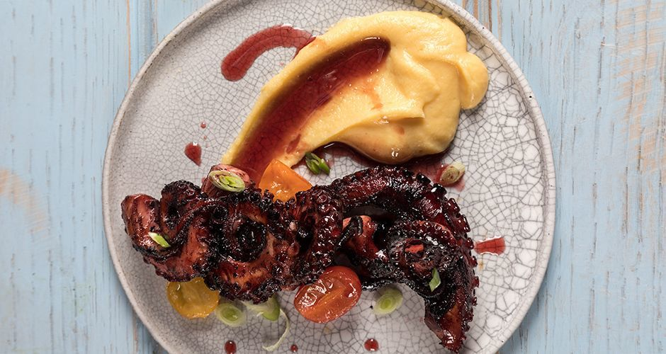 Greek wine braised octopus