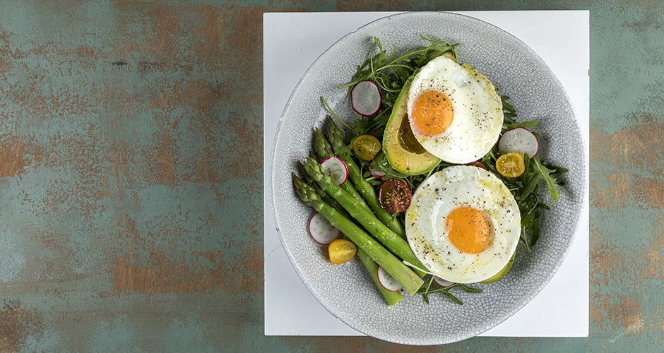 Avocado fried egg salad