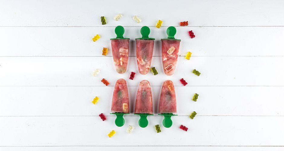 Watermelon popsicles with gummy bears