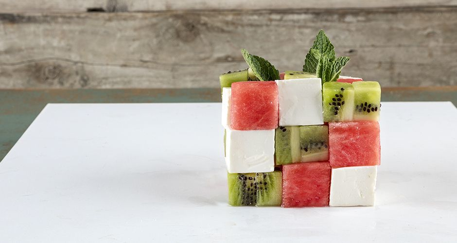 Fruit salad in a cube