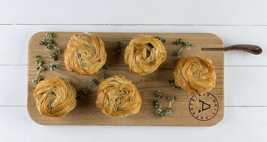Mini mushroom phyllo pies
