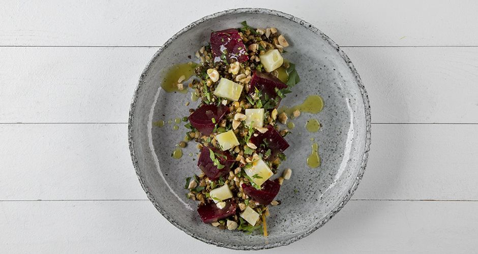 Beetroot and tricolor lentil salad