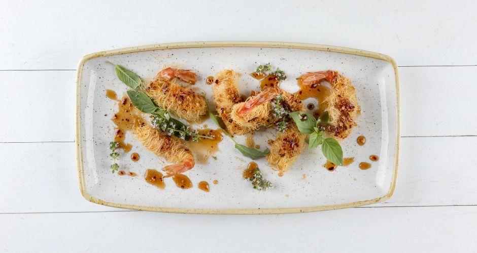 Greek crispy prawns in kataifi phyllo