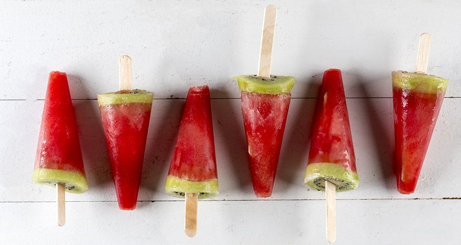 Watermelon and kiwi popsicles