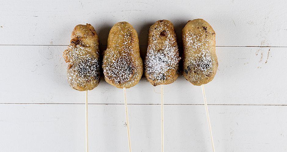 Fried cookies on skewers