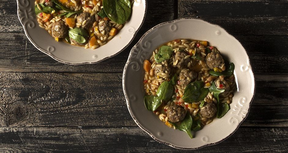 Oven baked meatballs and whole-wheat orzo