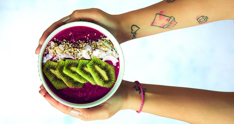 Acai bowl with beetroot and fruits